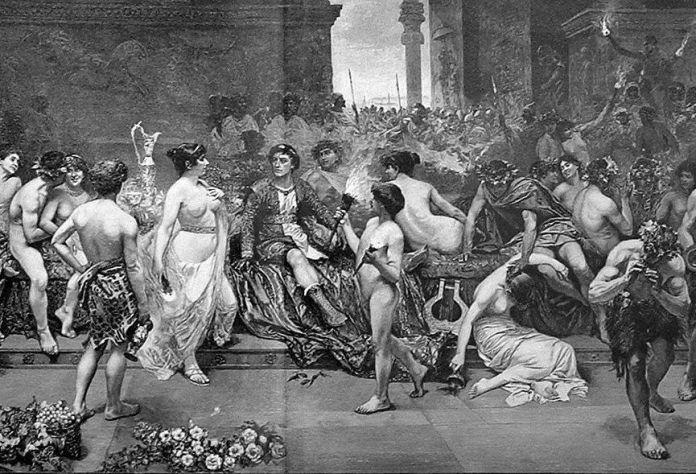 Alejandro Magno en Persépolis, obra de G Simoni en 1897 (Archivos Historia)