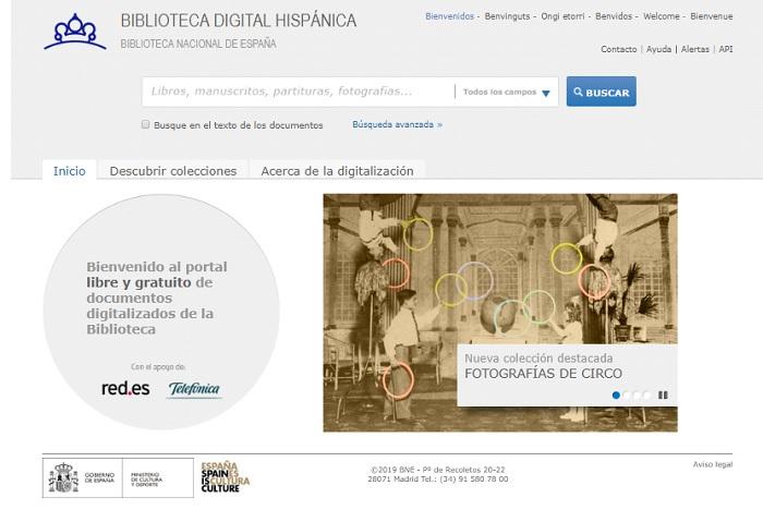 Captura de pantalla de la web de Biblioteca Digital Hispánica