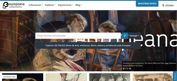 Captura de pantalla de la página de bienvenida de Europeana