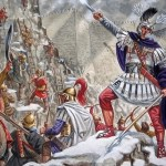 Ilustración que recrea el asalto de la fortaleza de Aornos, el gran reto de Alejandro Ma