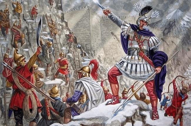 Ilustración que recrea el asalto de la fortaleza de Aornos, el gran reto de Alejandro Magno en la India