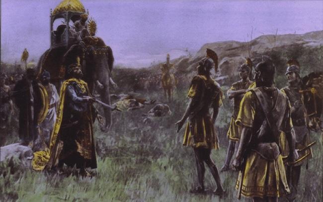 Ilustración que representa la rendición del rey Poro (Arrecaballo)