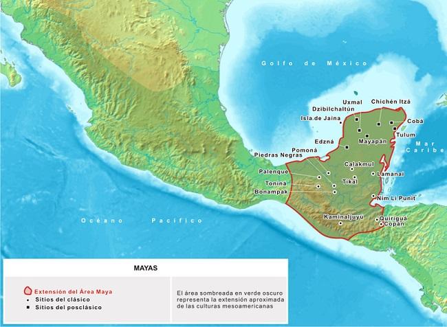 Mapa de la extensión de la cultura maya en Mesoamérica