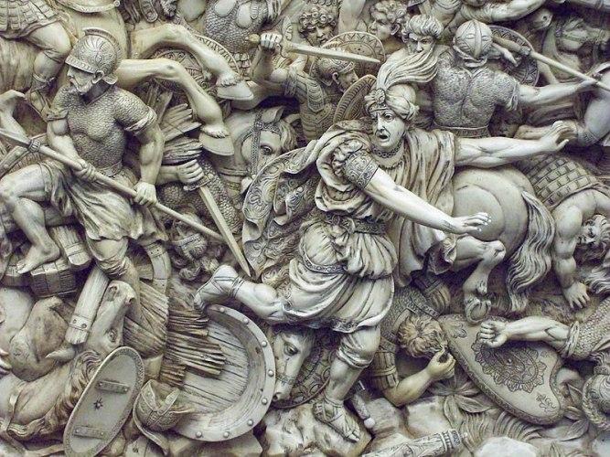 Relieve en marfil que representa la huida de Darío III de la batalla de Gaugamela