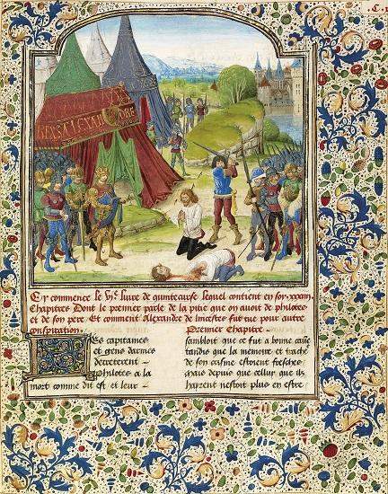 La ejecución de Filotas, víctima de la conspiración para el asesinato de Alejandro Magno