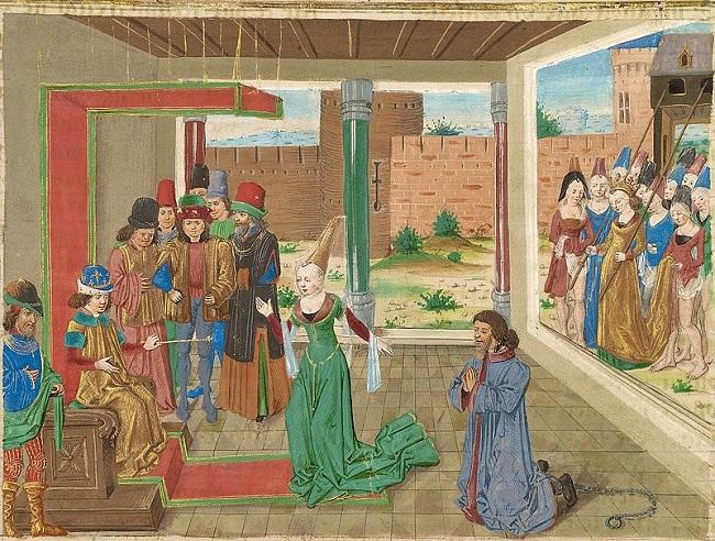 Bagoas intercediendo en favor de Nabarzanes, obra de 1470 que representa a Bagoas hablando ante Alejandro Magno