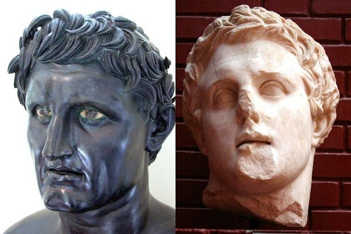 Imagen combinada con los bustos de Seleuco y Lisímaco, luchadores en la Guerra de los Diádocos
