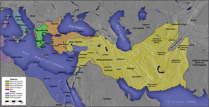 Mapa de la Guerra de los Diádocos tras la batalla de Ipsos