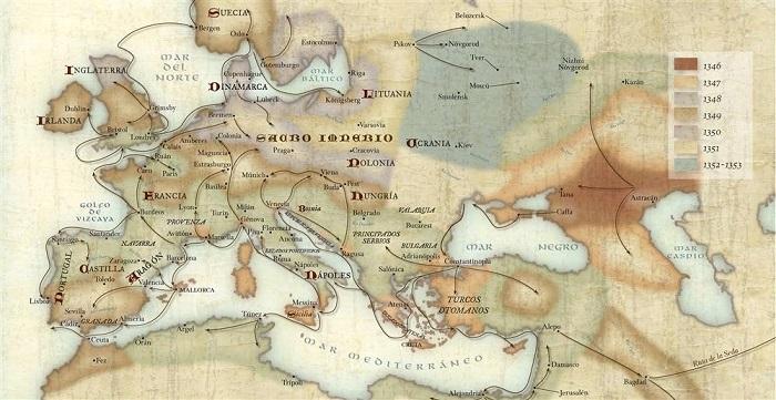 Mapa de la difusión de la Peste Negra entre 1346 y 1353