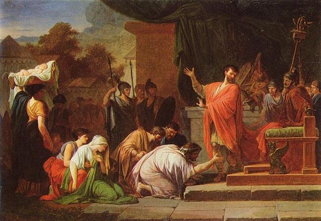El rey Perseo ante Lucio Emilio Paulo, obra hecha por Jean-François-Pierre Peyron en 1802