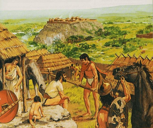 Ilustración sobre los primeros habitantes de Roma hecha por el historiador Peter Connolly (Fuente: Arrecaballo)