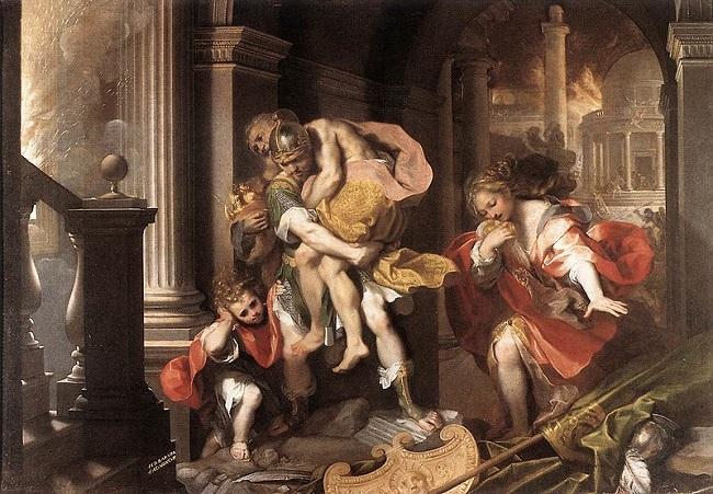 Eneas saliendo de Troya, obra de Federico Barocci hecha en 1598.