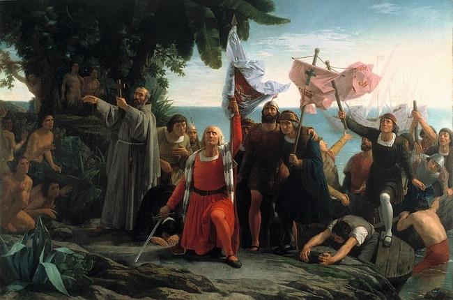 """""""Primer desembarco de Cristóbal Colón en América, tomando posesión de La Española para la Corona de Castilla, de Dióscoro Puebla"""