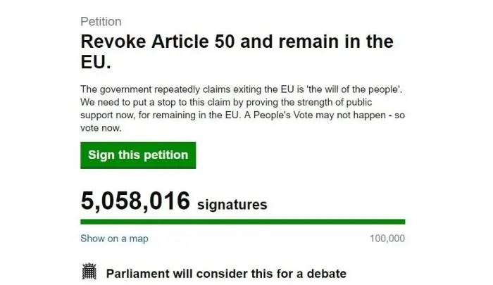 Peticioni për anulimin e Brexit arrin rekordin e 5 milion nënshkrimeve
