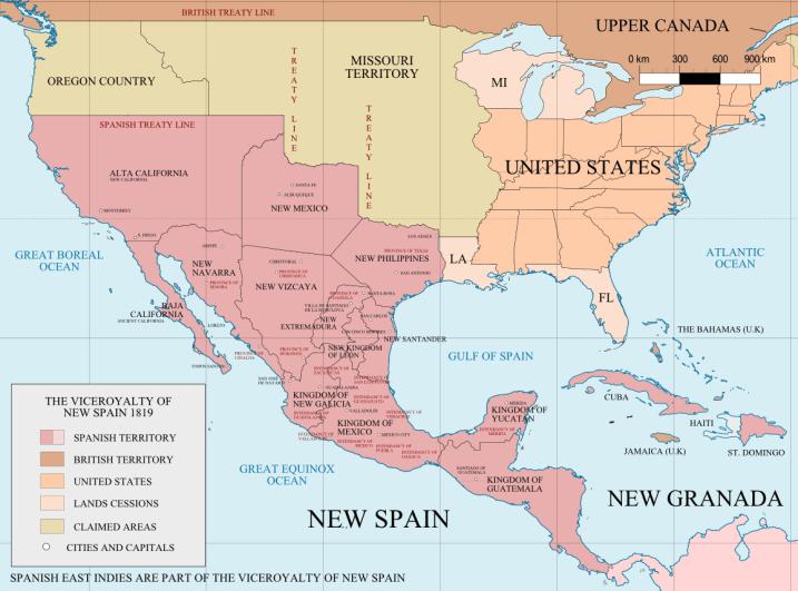 Territorio político de Norteamérica en el siglo XIX