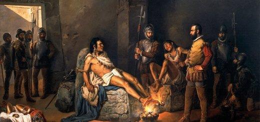 Cuauhtémoc y su primo, el gobernante de Tacuba, son torturados por Hernán Cortés. Óleo por Leandro Izaguirre. 1893. Museo Nacional de Arte, México