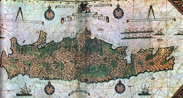 Χάρτης της ενετοκρατούμενης Κρήτης