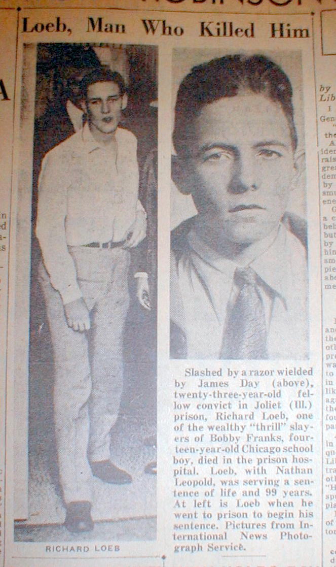 1936 Headline Newspaper KILLERS Leopold Amp Loeb RICHARD