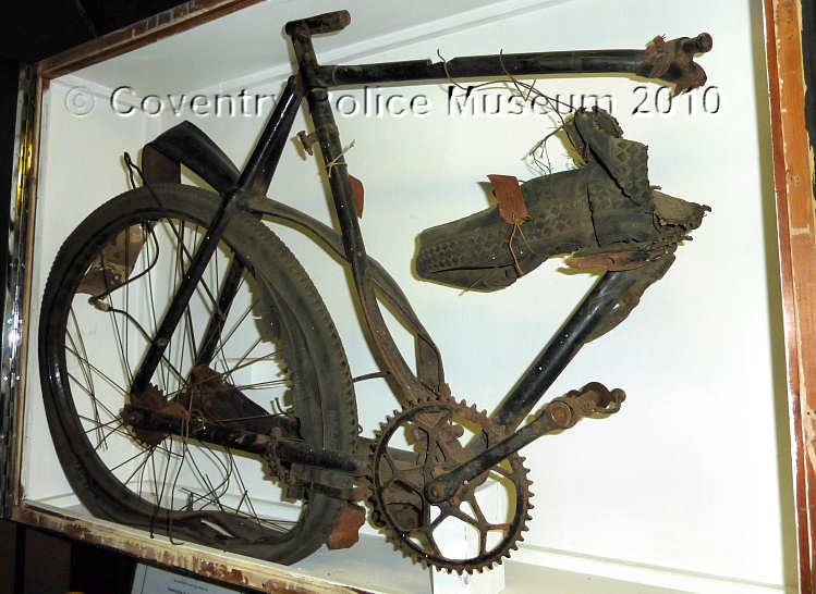 Remains of the bicycle in Little Park Street Police Museum, Coventry