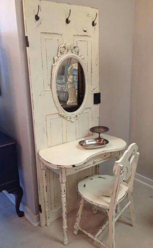 recycled salvaged door vanity table