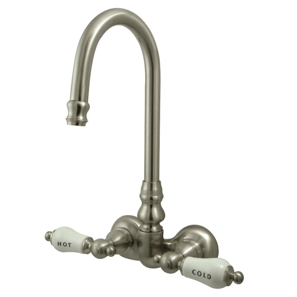 gooseneck wall mount clawfoot tub faucet 3 3 8 on center porcelain lever handles satin nickel
