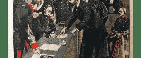 Alphonse Bertillon déposant devant le Conseil de Guerre en 1899 lors de l'Affaire Dreyfus.