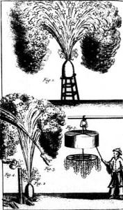 Afbeelding van Chinees vuurwerk. Bron: Pierre Nicolas d'Incarville, Science and Civilisation in China, pagina 142 (1764).