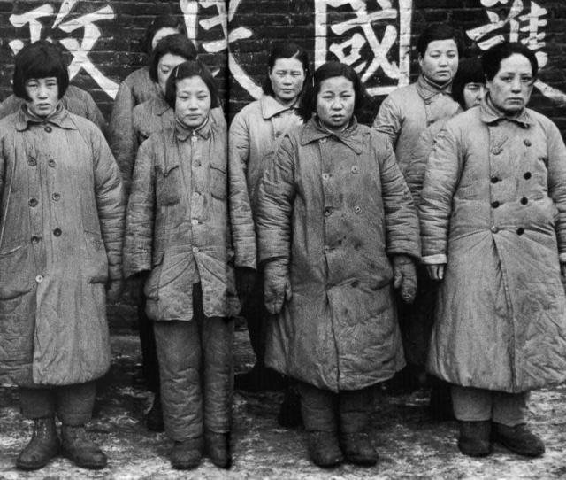 A Nationalist Officer Guarding Women Prisoners Said To Be Comfort Girls Used By The Communists 1948