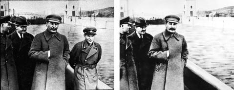 Nikolai Yezhov, pictured right of Stalin, was later removed from this photograph at the Moscow Canal. (Credit: Fine Art Images/Heritage Images/Getty Images & AFP/GettyImages)