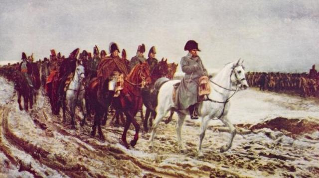 A 1920 painting depicts Napoleon's retreat from Moscow.