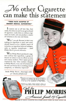 1937 Philip Morris advertisement claiming their brand cleared up irritation of the nose and throat.