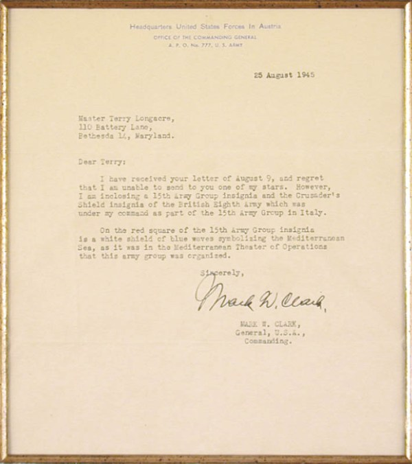 General Mark W. Clark - Typed Letter Signed 08/25/1945 ...