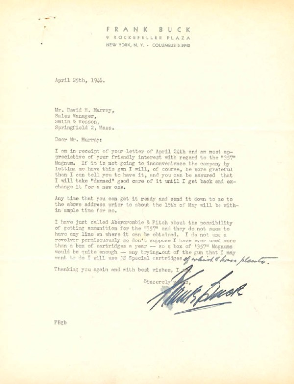"""Frank """"Bring 'em Back Alive"""" Buck - Typed Letter Signed 04 ..."""