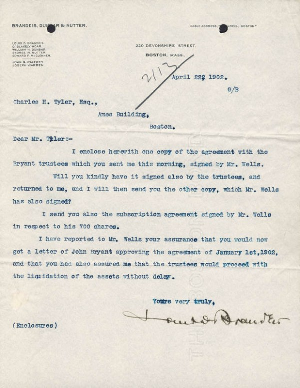 Associate Justice Louis D. Brandeis - Typed Letter Signed ...
