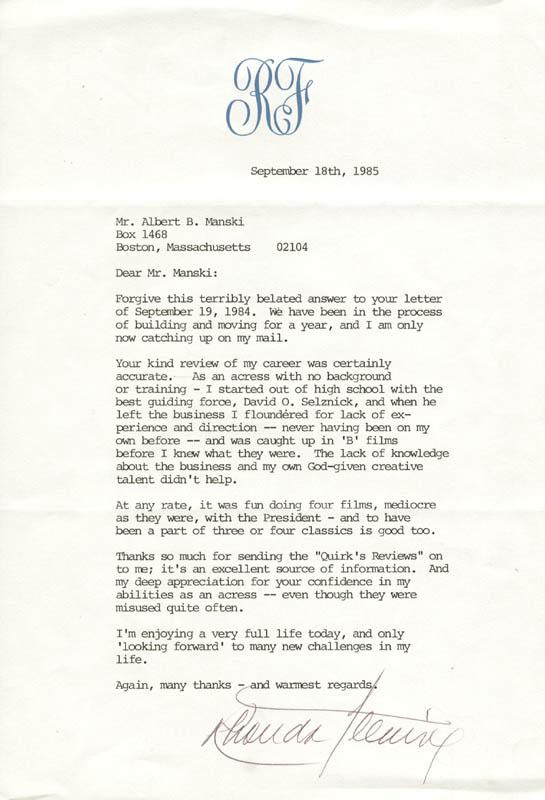 Rhonda Fleming - Typed Letter Signed 09/18/1985 ...