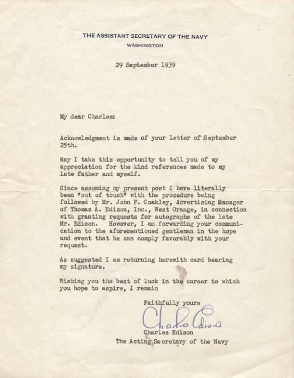 Governor Charles Edison - Typed Letter Signed 09/29/1939 ...