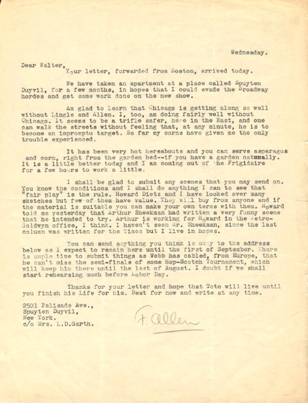 Fred Allen - Typed Letter Signed | Autographs ...