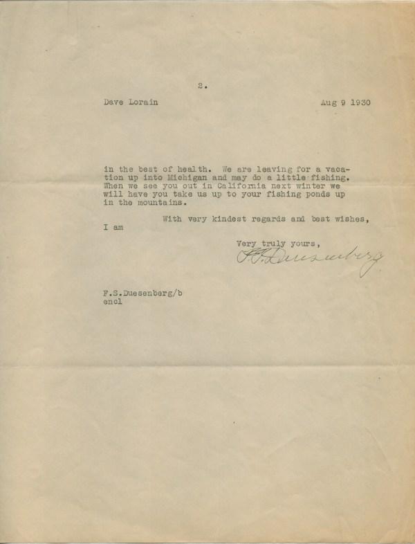 Frederick S. Duesenberg - Typed Letter Signed 08/09/1930 ...
