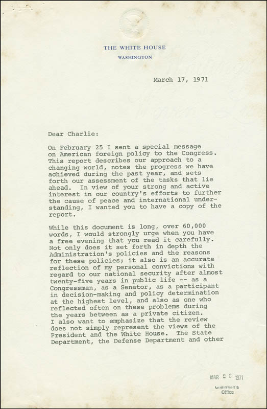 President Richard M. Nixon - Typed Letter Signed With ...