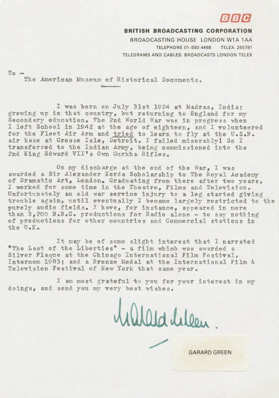 Garard Green - Typed Letter Signed Circa 1984 | Autographs ...