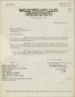 W.C. Handy - Typed Letter Signed 12/08/1932 | Autographs ...
