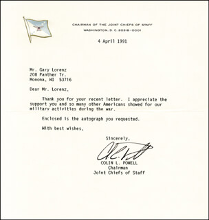 General Colin L. Powell - Typed Letter Signed 04/04/1991 ...