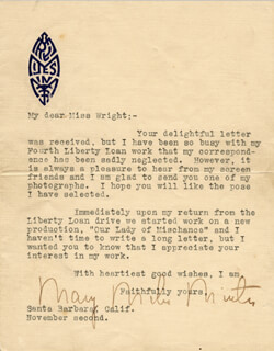 Mary Miles Minter - Typed Letter Signed 11/2 | Autographs ...