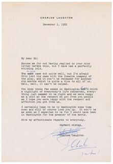 CHARLES LAUGHTON - TYPED LETTER SIGNED 12/01/1961 | eBay