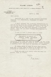 Naomi Lorne - Typed Letter Signed 04/05/1962 | Autographs ...