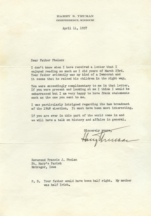 Autograph - 04-093 Harry S. Truman typed letter signed, 4 ...