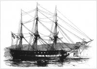 The USS Macedonian, the second of two American warships which brought food aid to Ireland in 1847.(Illustrated London News)