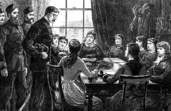 The Royal Irish Constabulary dispersing a meeting of the Ladies' Land League. (Illustrated London News, 24 December 1881)