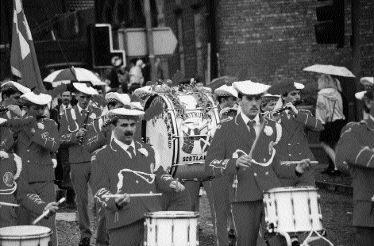 In 1996 of the seventy-seven bands on the Belfast Twelfth parade, twenty-six were from Scotland. (Neil Jarman)