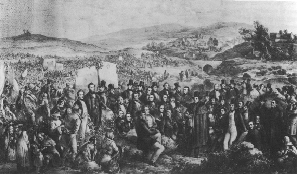 Daniel O'Connell addressing the crowd in J. Haverty's The Monster Meeting in the Irish Highlands, Clifden (1843).